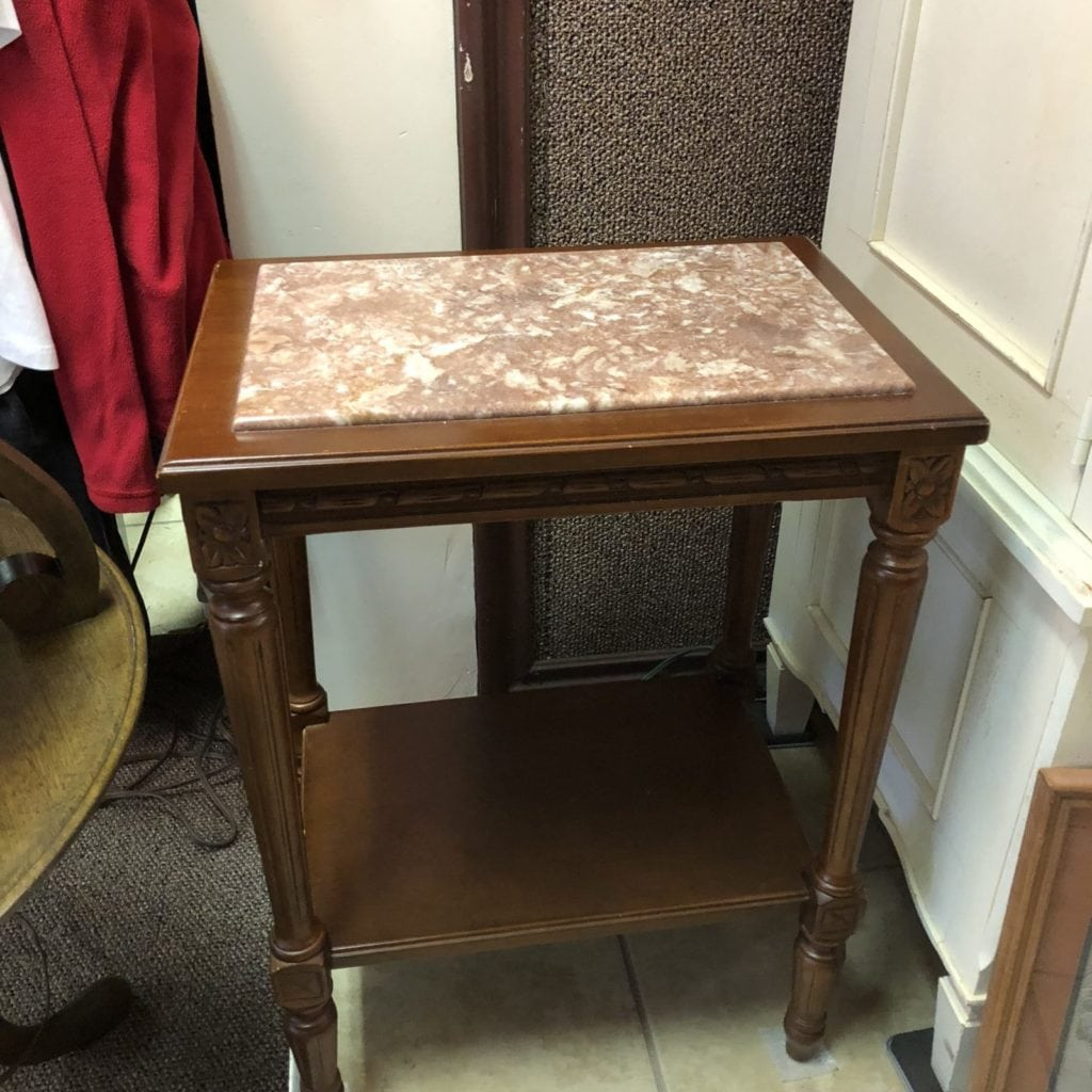 Vintage Marble Top Tables • Pair of Vintage Marble Insert Side Tables in excellent condition.