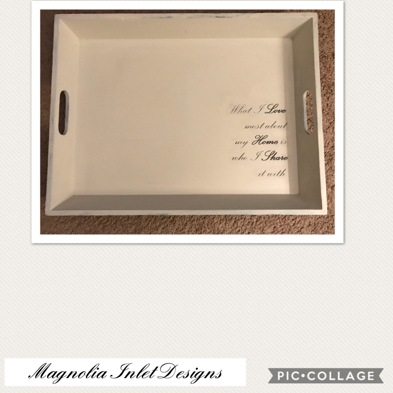 """Upcycled Tray-Home Sentimen • This generously sized tray (20.5""""x15.5"""") has a sweet sentiment making it perfect for any home and a fabulous gift as well!"""