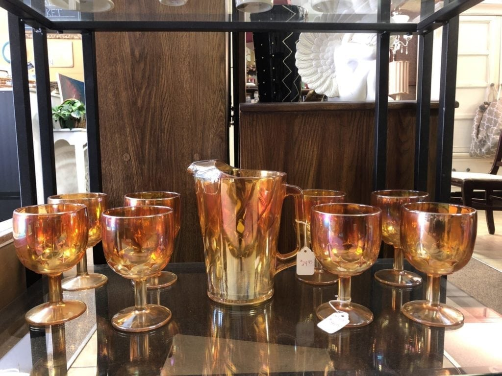 Carnival Glass • Vintage Carival Glass Water Goblets & Pitcher