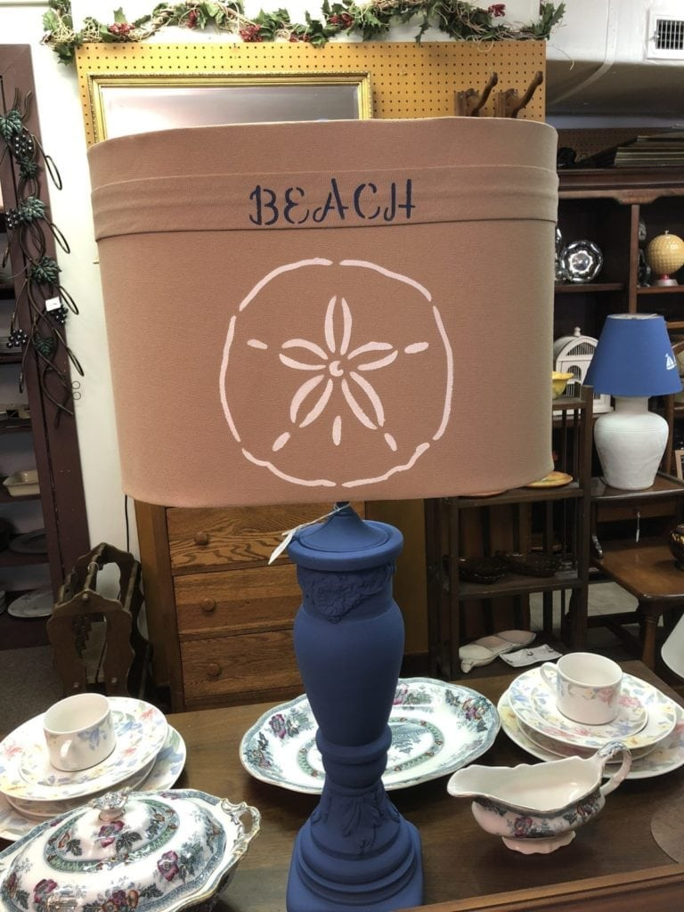 Nautical Lamp • Beachy Blue Lamp with Sand dollar shade. Perfect for any beach house.