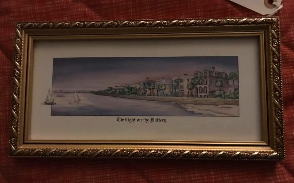 """""""Twilight on the Batter"""" • Print by Charleston artist Betty Condon. Professionally masted and framed. Lovely!  Please note that we also have a print by artist Jim Booth entitled """"Hurricane"""". Same view-different season! They are lovely as a set.  Price is let item."""