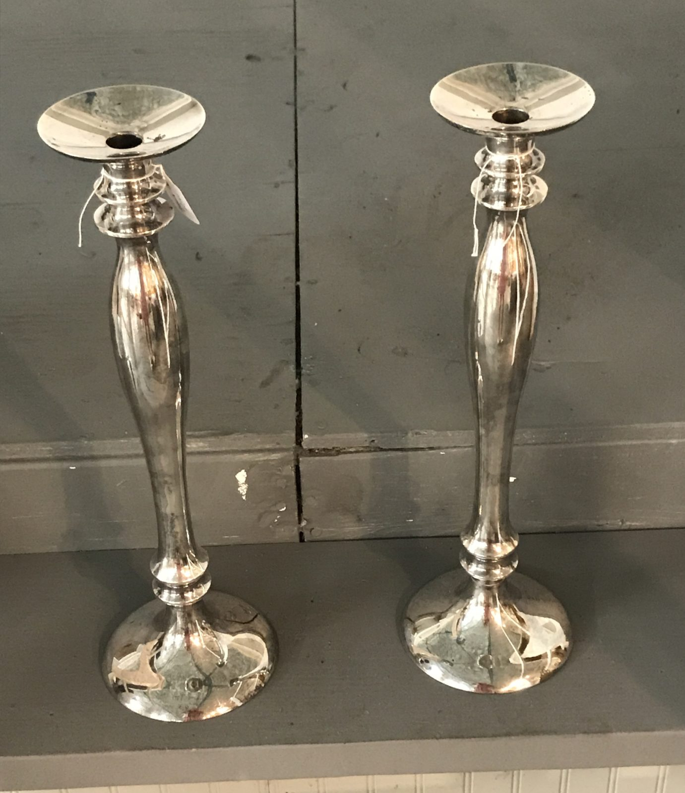 Pottery Barn silverplate • These beautiful candleholders will hold either pillars or tapers.