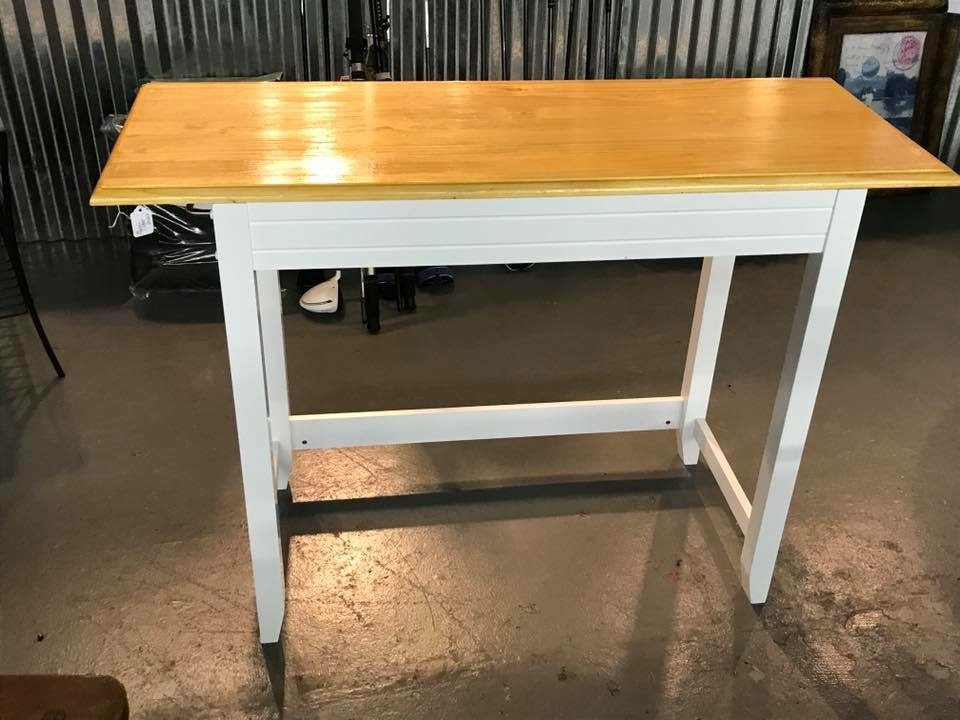 Console Table • This Magnolia Inlet Designs original table is perfect to add additional work/seating in the kitchen, would make a fabulous coffee bar or serving piece in the dining room. Add a wine fridge/ice maker below and it's a great drink bar!