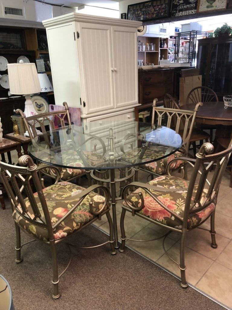 Glass & Iron Table Set • Glass and heavy iron Table Set. This picture does not do it justice. This set is solid and in excellent condition