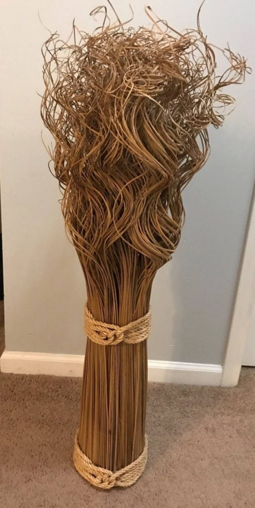 "Straw Floral Decor • This unique piece adds interest in any decor. I can customize it to match your design. Measures 39"" tall"