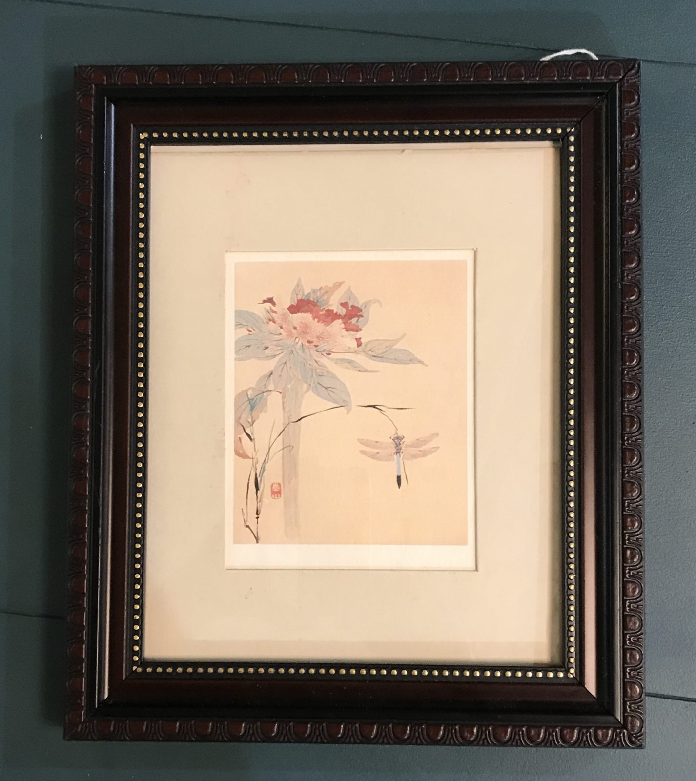 Watanabe Kazan watercolor print • Beautiful dragonfly print by artist Watanabe Kazan. Lovely colors! Perfect for your Asian them decor, but will be pretty in any design! Framed to protect it only. Needs a custom frame.