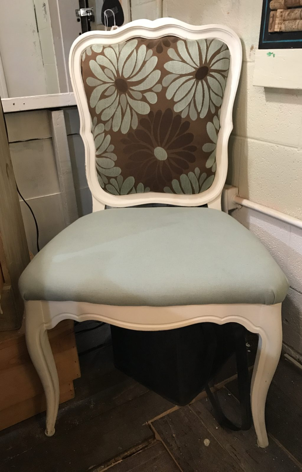 ReDesigned side chair • We took that chair from drab to fab with a fresh coat of paint and new upholstery! Great for the office, extra seating, bedroom...your choice!