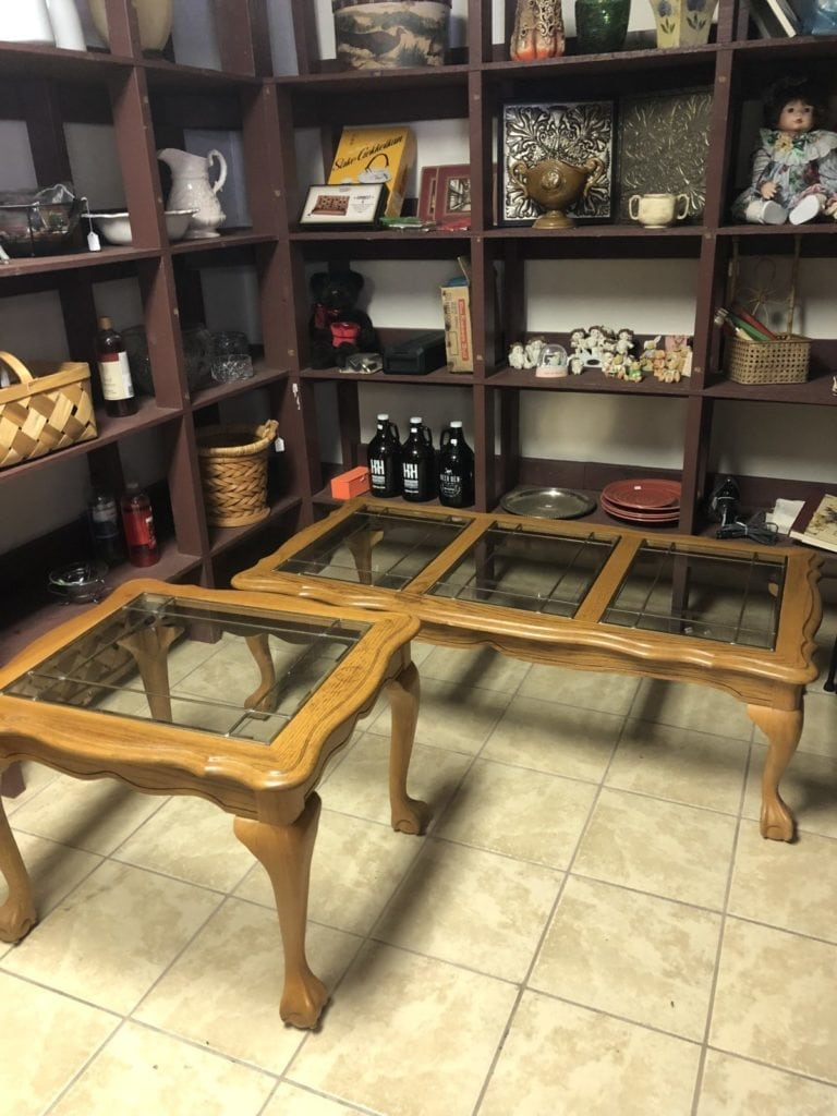 Glass & Wood coffee & End Table • Glass & Wood Tables