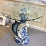 "Blue marlin side table • Great buy on this blue marlin side table with 20"" top. Perfect addition to any home or condo"