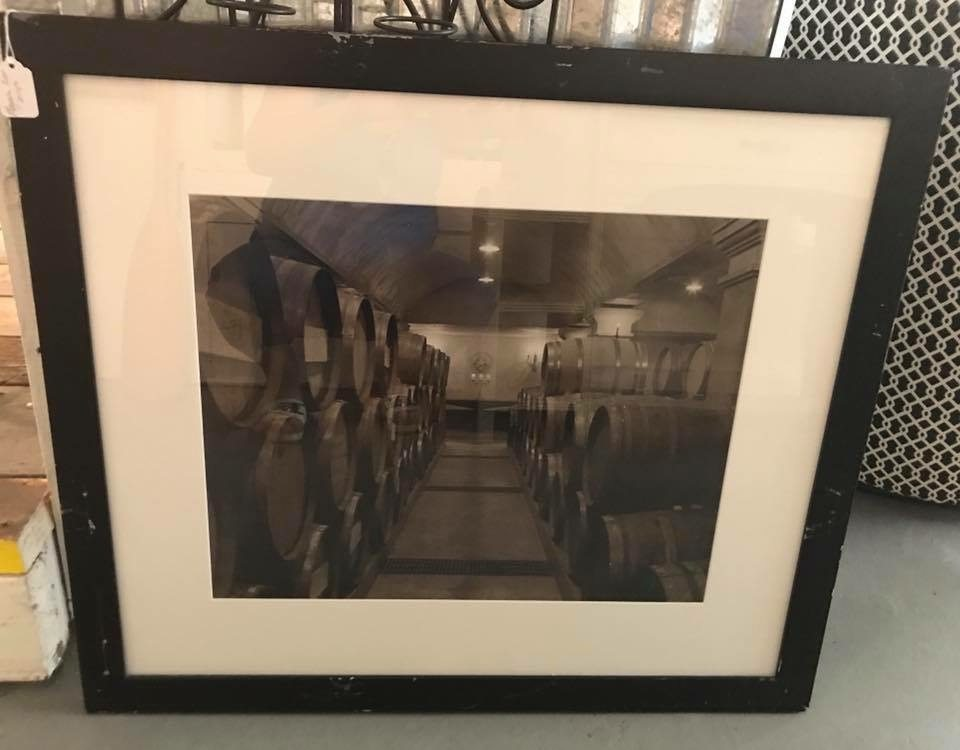 Black & White wine barrels photo • Great addition over your home bar! Large black and white to sepia toned photo depicting aging wine barrels. Beautiful!