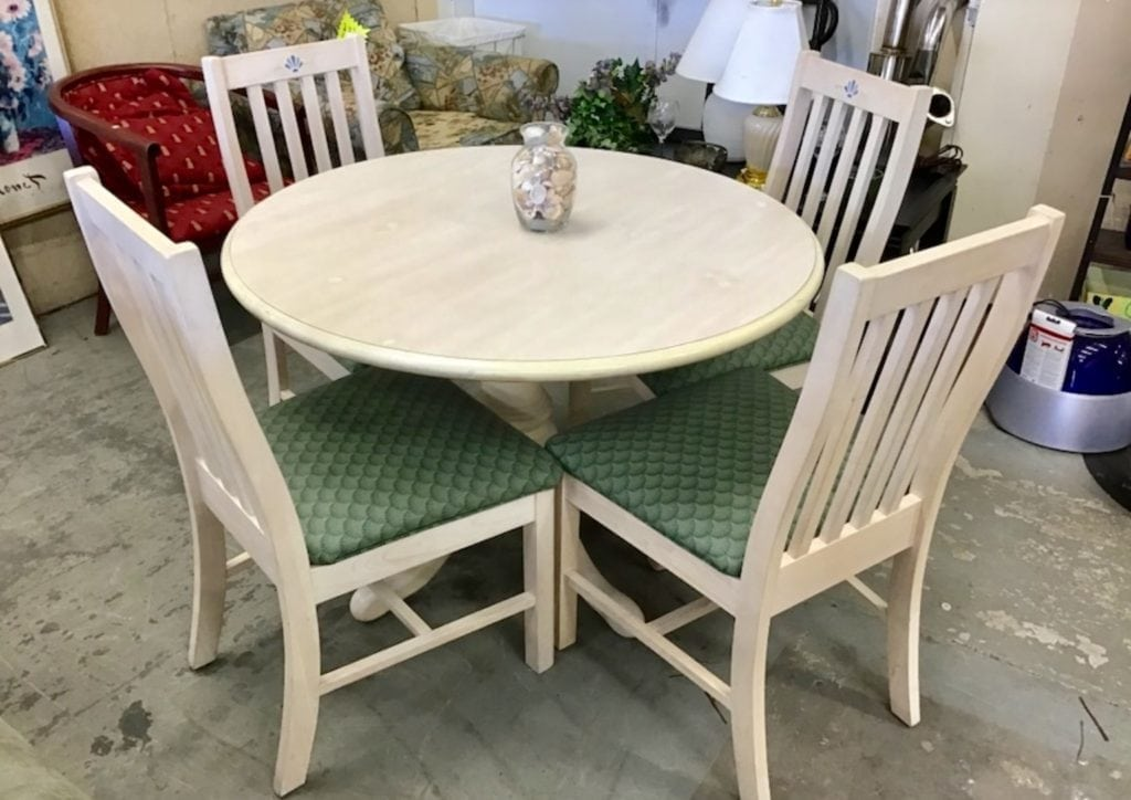 """Whitewash Dinette w/4 chairs • Great buy on this very gently used whitewash dinette with four matching chairs. Seats are vinyl with no rips or tears or punctures. Top is 42"""" Great for apartment or condo."""