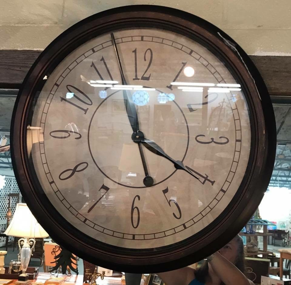 "Large wall clock • Make a statement in any room with this large wall clock. Fabulous form and function, and compliments most decor styles. 24"". Battery operated."