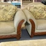 Chairs (2) Beige w/pillow backs • I have two of them that match they are $279 each they are in good shape with loose pillow back  cushions they came from bug free smoke free and pet free home and they have wooden accent fronts  they are beautiful chairs  located at Dick Pond Road location