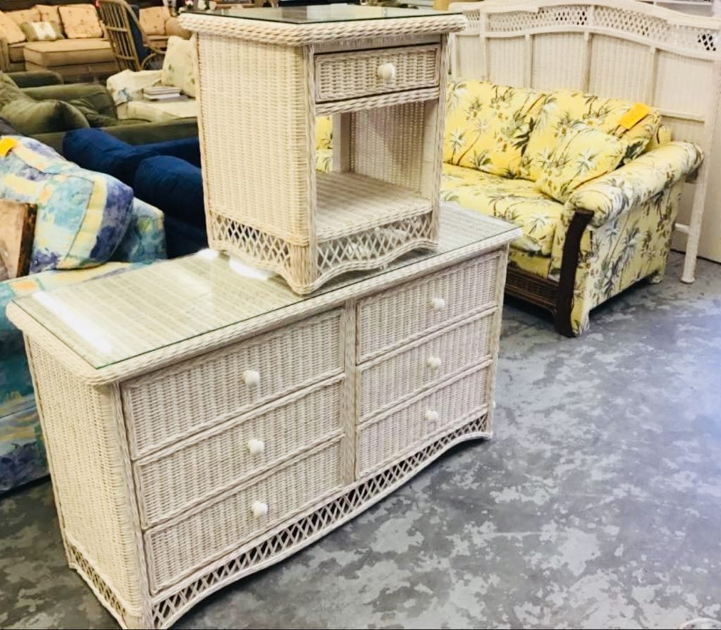 Wicker Dresser wNightstand • Great buy on this gently used whitewash wicker six drawer dresser with matching nightstand. Both have glass tops and drawers are on metal glides.Both of these came from a pet free smoke free and bug free home.