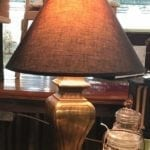Gold Lamp • Single lamp. Simple shape in a fabulous gold finish.  Nice size for a desk or buffet.