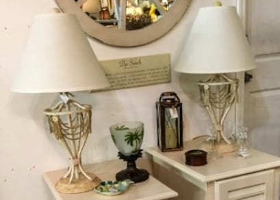 Off White Metal and Stone Lamps • Heavy metal and stone bases make these neutral lamps a substantial accent to your decor. Great task or accent lighting. Perfect in a bedroom or living area. Price is for the pair.
