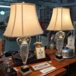 Bombay Co. Cut Glass Lamps • This pair of lamps will bring a lovely ambiance to any room. We see them in a bedroom as bedside lamps. They would make a great addition on a buffet table, or living room end tables.