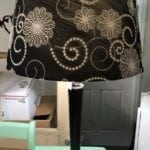 Black and Chrome Lamp • Single lamp with fabulous floral pattern stitched on the black lampshade. Grest in an office, guest bedroom or den.