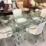 """Green Metal/Wicker Table&4Chairs • Great buy on this metal with wicker accents glasstop table with four chairs. 62"""" x 42"""" glasstop. Great for patio or sunroom This table is very unique."""