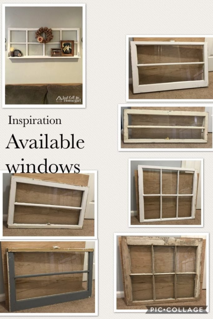 Project Idea • I have several vintage wood windows to use to create a similar look for you. Starting at $22 for the window, we'll work together to get the look you want. Whether your style is farmhouse,  beachy or modern industrial, I'm sure we can do get it done!