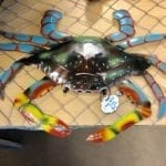 Large Colorful Metal Crab • Beautiful colored metal crab. Makes a great decor item on the wall or on a table.