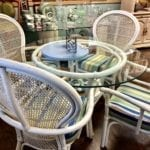 5 Piece White Rattan Dinette • White Rattan 5 piece dinette set. Glass table and striped fabric chairs. Perfect for that beach condo.