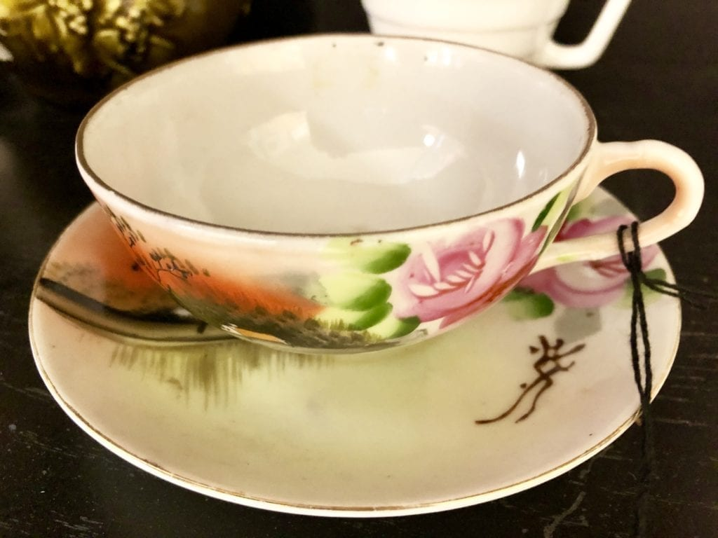 Hand painted Teacup & Saucer • Beautiful handpainted floral pattern teacup and saucer from Japan. Makes a great special gift for a tea lover.