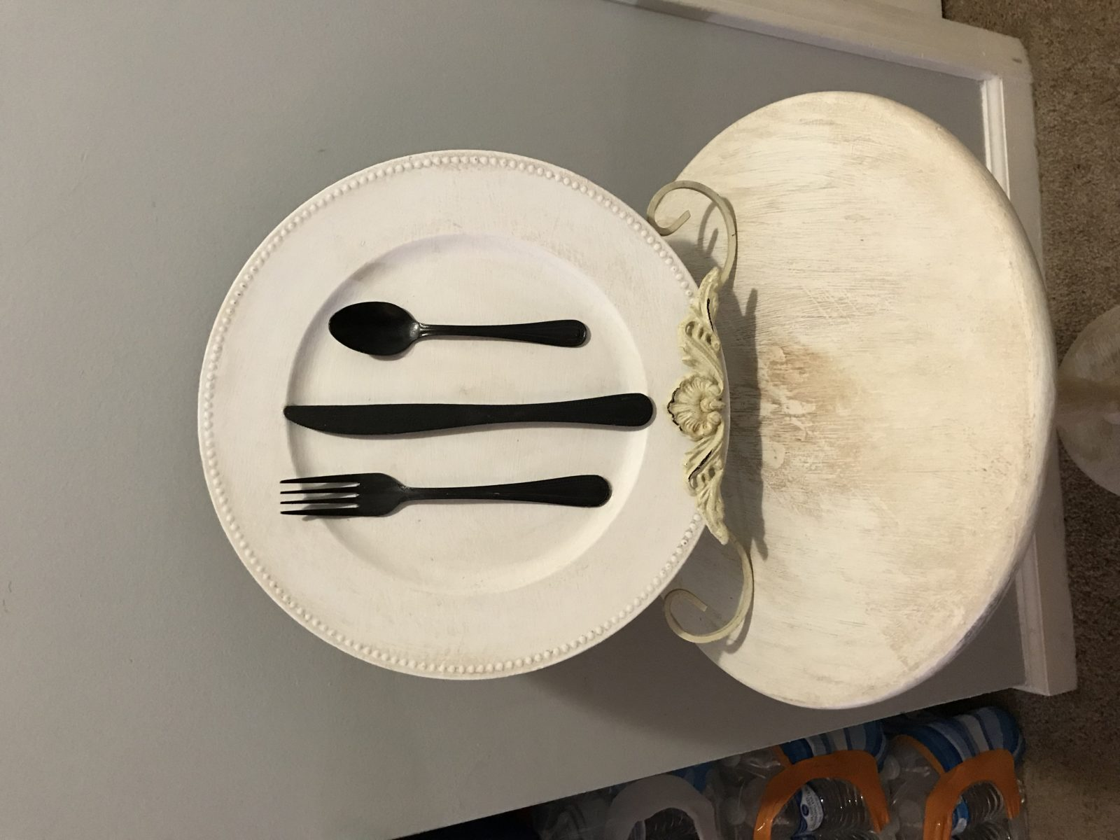 Kitchen or Dining area Decor • This ReDesign is the perfect accent for your kitchen or dining area. This piece is done in antiqued white with hammered finish bronze utensils. Can be hung or displayed in an easel.  I can custom create in your choice of colors &  styles. *Price varies*