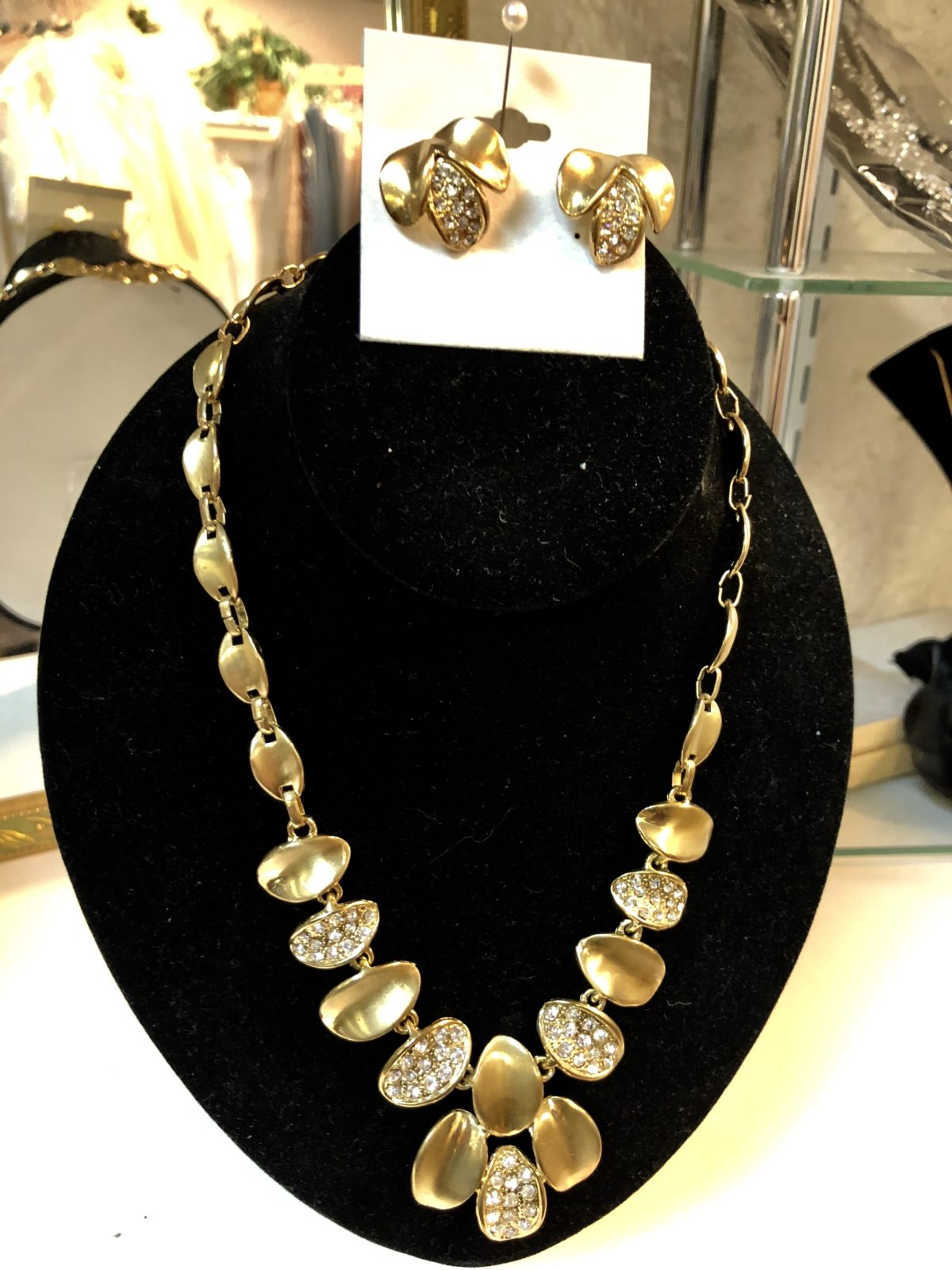 Gold Necklace and Earring Set • Gold Necklace & Earring Set with little rhinestones.  Will look great on black, blue or red colors.