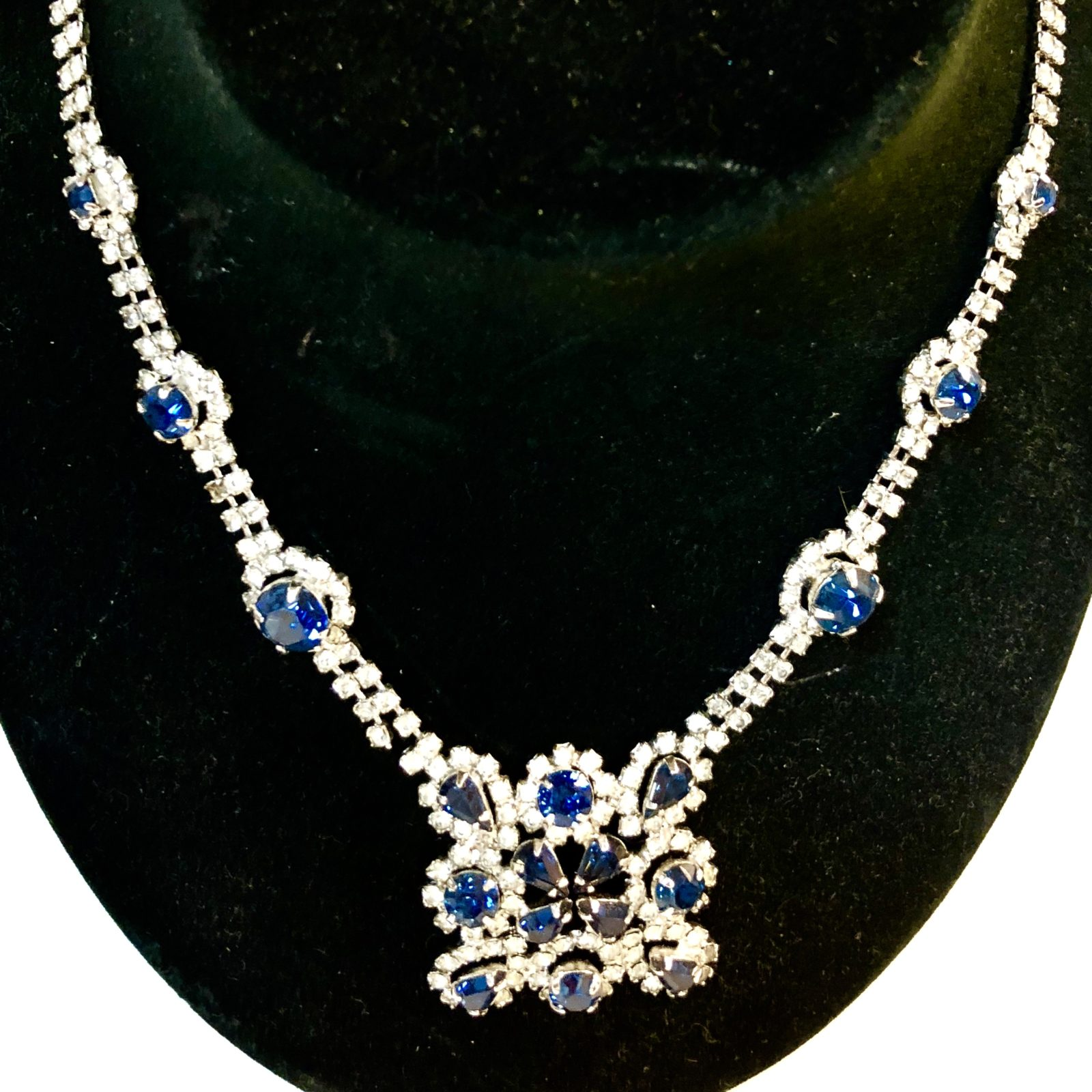 Silver Rhinestone & Blue Gem Necklace • Beautiful silver rhinestone with blue gem necklace. This necklace will add elegance and sparkle to your outfit.