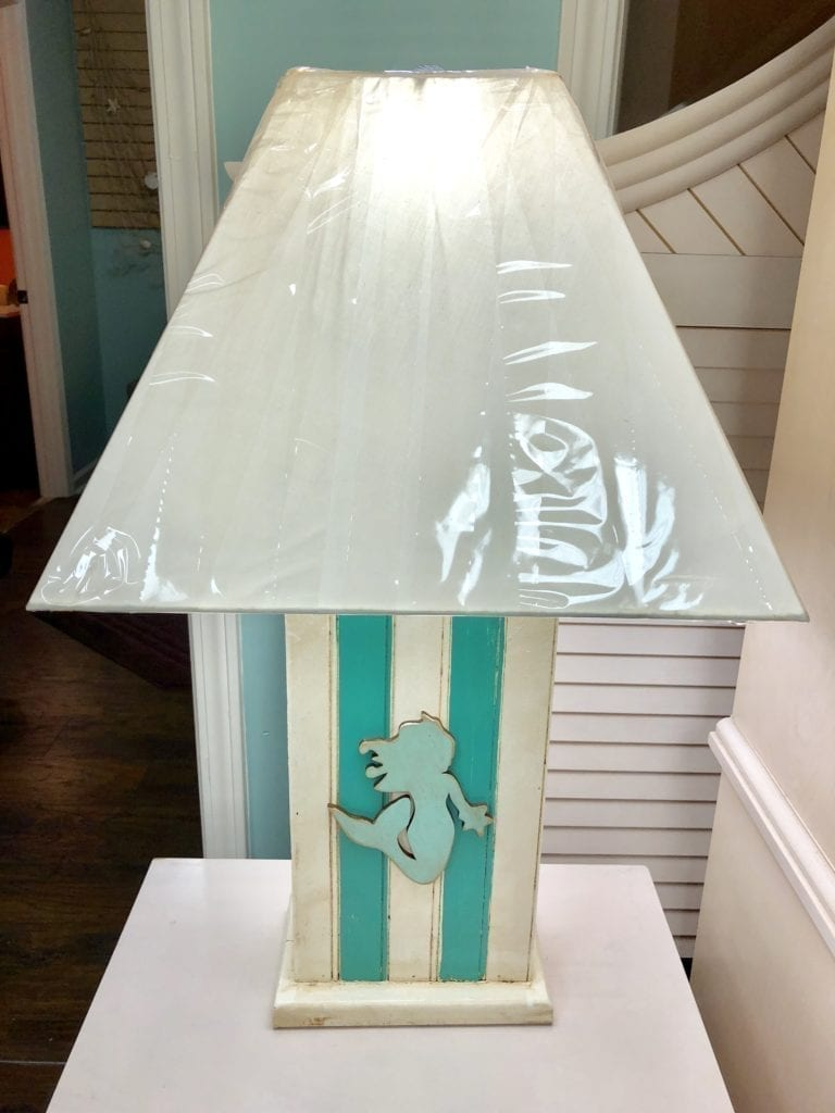 Colorful Mermaid Lamp • Unique wooden colorful mermaid lamp. Great for that beachy room in your home, or for a beach condo.
