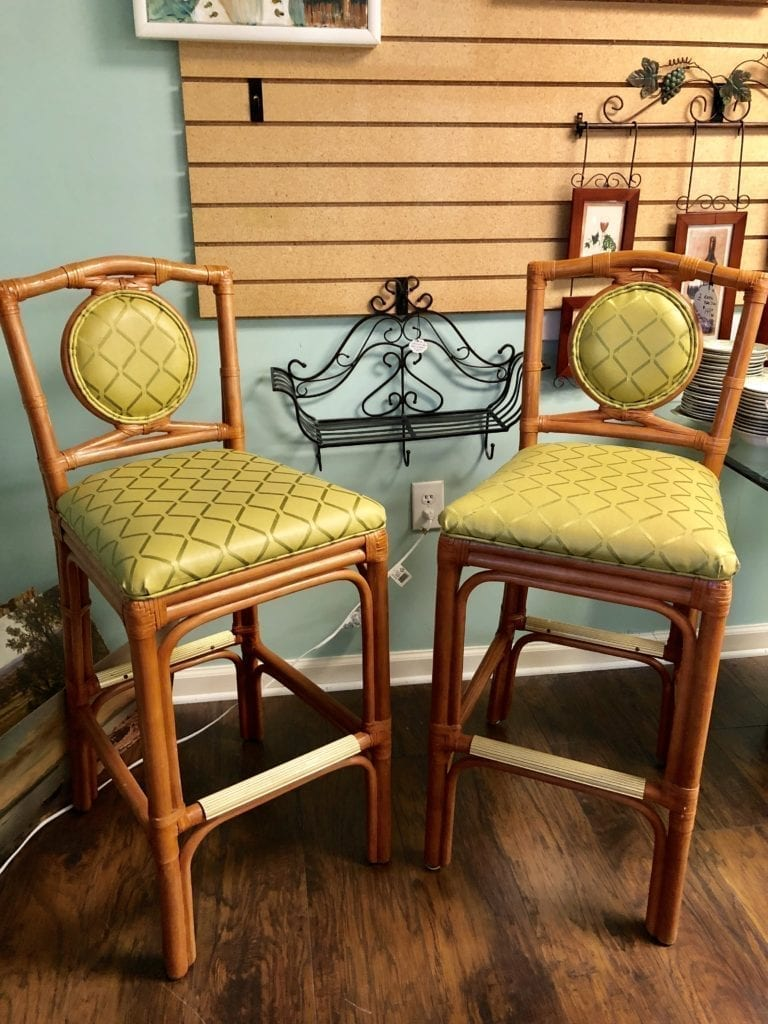 Pair of Rattan Bar Stools • Pair of Rattan bar stools with spring green pleather seats. Will snazz up any kitchen. Island or home bar.