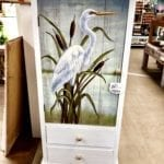 White Heron Cabinet • Unique white cabinet with a painted heron. One door and 2 drawers.