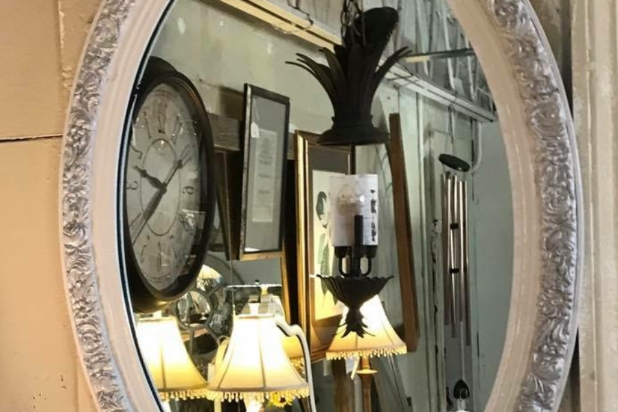 Oval Mirror White w/Silver Accents • Another ReDesign. It can hang vertically or horizontally. Would be great in a guest room or powder room.