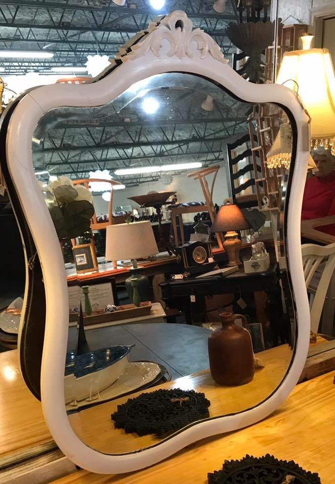Vintage Wood Frame Dresser Mirror • We love the curves on this mirror! Put it over your fireplace mantle, dining room buffet, or in a powder room for some lovely vintage style. Currently painted white. we can update it any way you like.