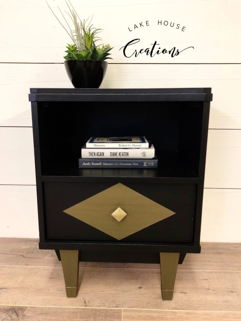 Vintage MCM Nightstand • Vintage MCM nightstand in black features deep shelf and spacious drawer. New brushed gold hardware. Matching dresser and tallboy available.