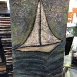 "Textured Sailboat Wall Art • 30"" tall"