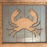 """Coastal/Beachy Crab Themed Wall Art • Updated coastal/beachy decor. Fabulous indoors and sealed for outdoors. Measures 16""""x18"""".  Available for pick up in Murrells Inlet, Garden City or will deliver for an additional fee."""