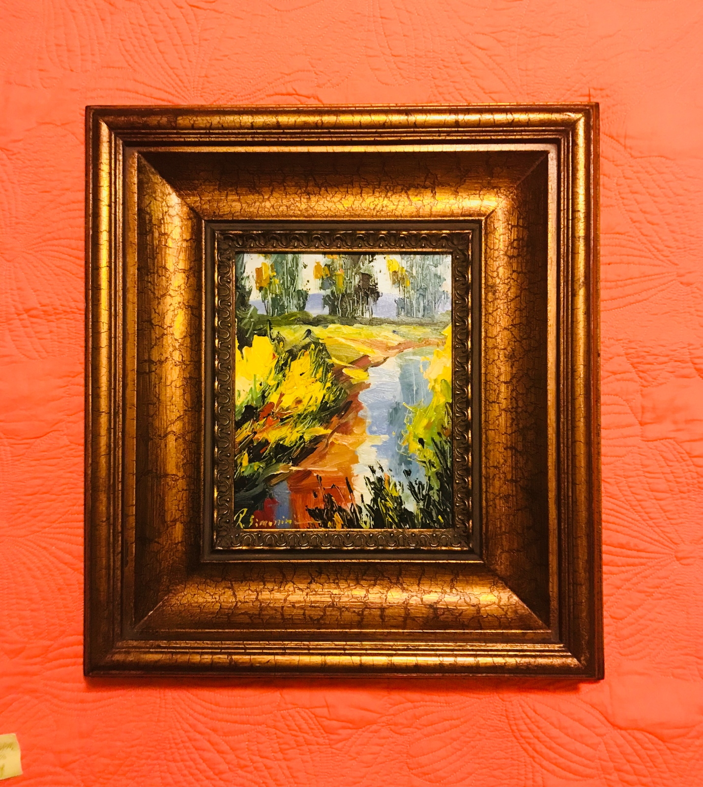 """Original Oil Painting • Another lovely oil painting wonderfully framed in a beautiful heavy wooden frame.  Frame Measures 17.75""""x19.5"""" Painting measures 8""""x10""""  Painting and frame available separately."""