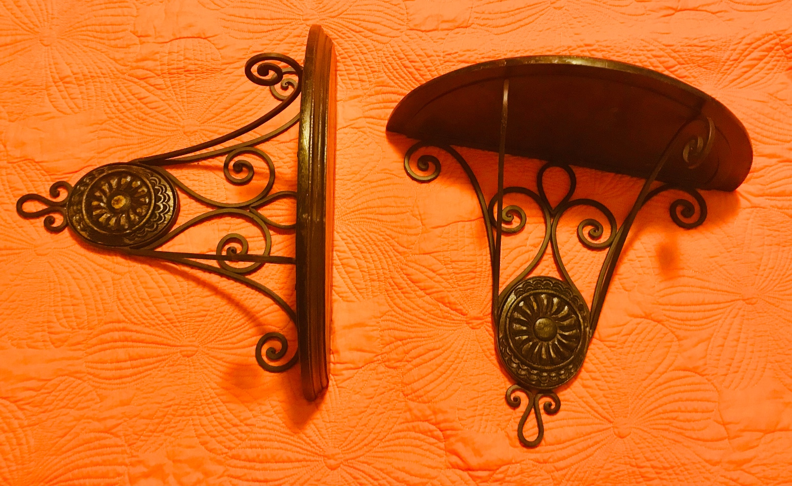 Pair of Wood and Metal Wall Sconces • This pair of wall sconces are a great display item in their own, but picture them as brackets for a custom wall shelf. Display your favorite collection and draw attention to your unique treasures. Price is for the pair. Delivery options available.