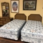 Dixie Furniture 10pc Twin Bedroom Set • Like new Dixie furniture 10 piece bedroom suite with 2 twin beds dresser mirror 2 twin headboards 2 Frames 2 mattresses and 2 boxers springs.Came from a bug free pet free and smoke free home