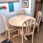 "Cute Whitewash Dinette w/Hidden Leaf • Cute Whitewash Dinette w/hidden leaf 42"" round or w/leaf 42"" x 60"" great set for small homes or apts condos etc Nice neutral colors that go with a lot of different decor"