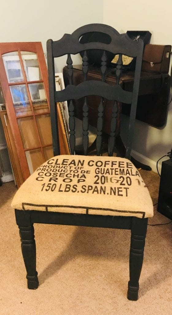 Dining/desk chair • ReDesigned dining chair. Perfect for extra seating in kitchen/dining area, oras desk chair for your kitchen office. RePurposed Burlap Coffee sack upholstery adds cool interest. 